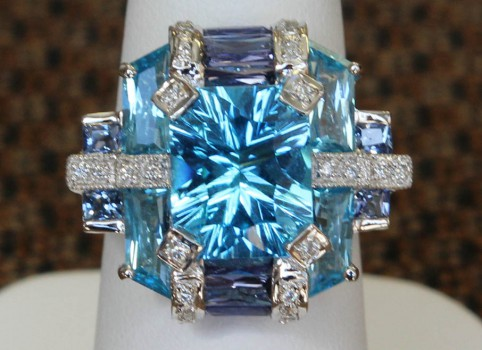 Front View of Radiant Cut Blue Topaz, Sapphire and Diamond Ring
