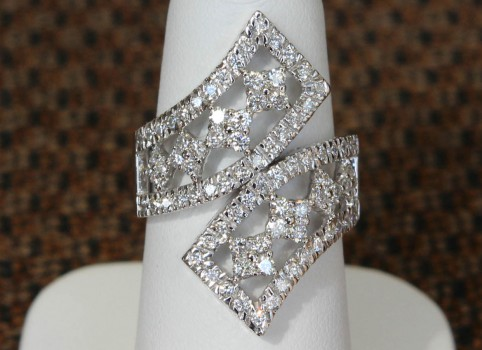 Front View of Geometric Styled Bypass Ring in White Gold and Diamonds