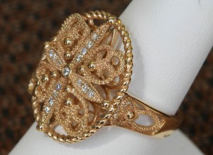 Side View of 14 Karat Yellow Gold and Diamond Filigree Ring