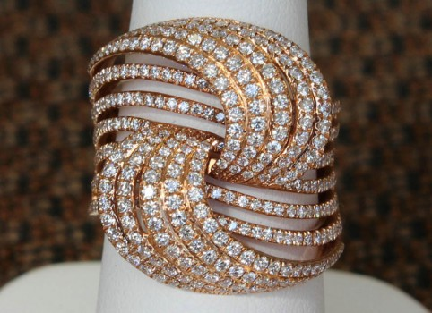Front View of Side View of 14 Karat Yellow Gold Threaded Diamond Ring