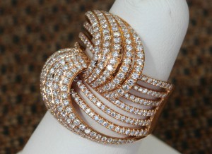 Side View of 14 Karat Yellow Gold Threaded Diamond Ring