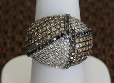Black, White and Brown Diamond Dome Ring
